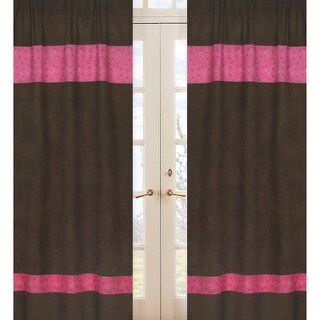 Sweet Jojo Designs Pink, Brown and Cream 84-inch Window Treatment Curtain Panel Pair for Cowgirl Collection - 42 x 84