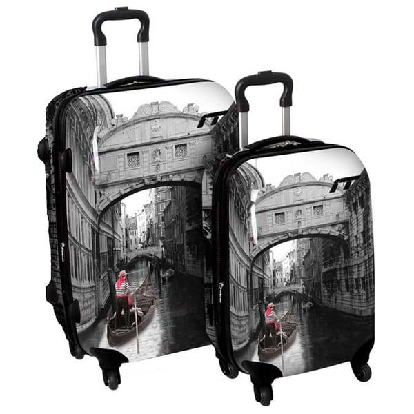 International Traveller 'Venice Bridge' 2-piece Fashion Hardside Spinner Luggage Set