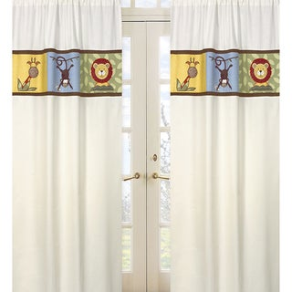 Sweet Jojo Designs Green, Blue, Orange, Brown, Yellow, Red and Ivory Jungle Time 84-inch Window Treatment Curtain Panel Pair
