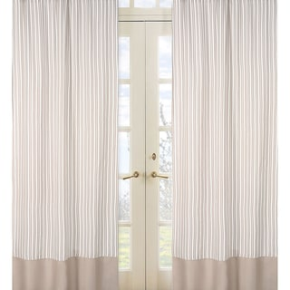 Sweet Jojo Designs Off-White and Taupe 84-inch Window Treatment Curtain Panel Pair for Little Lamb Collection
