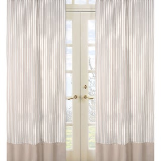 Sweet Jojo Designs Off-White and Taupe 84-inch Window Treatment Curtain Panel Pair for Little Lamb Collection (As Is Item)