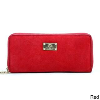 Anais Gvani Women's Suede and Leather Zip-Around Wallet