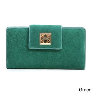 Anais Gvani Suede and Leather Checkbook Wallet