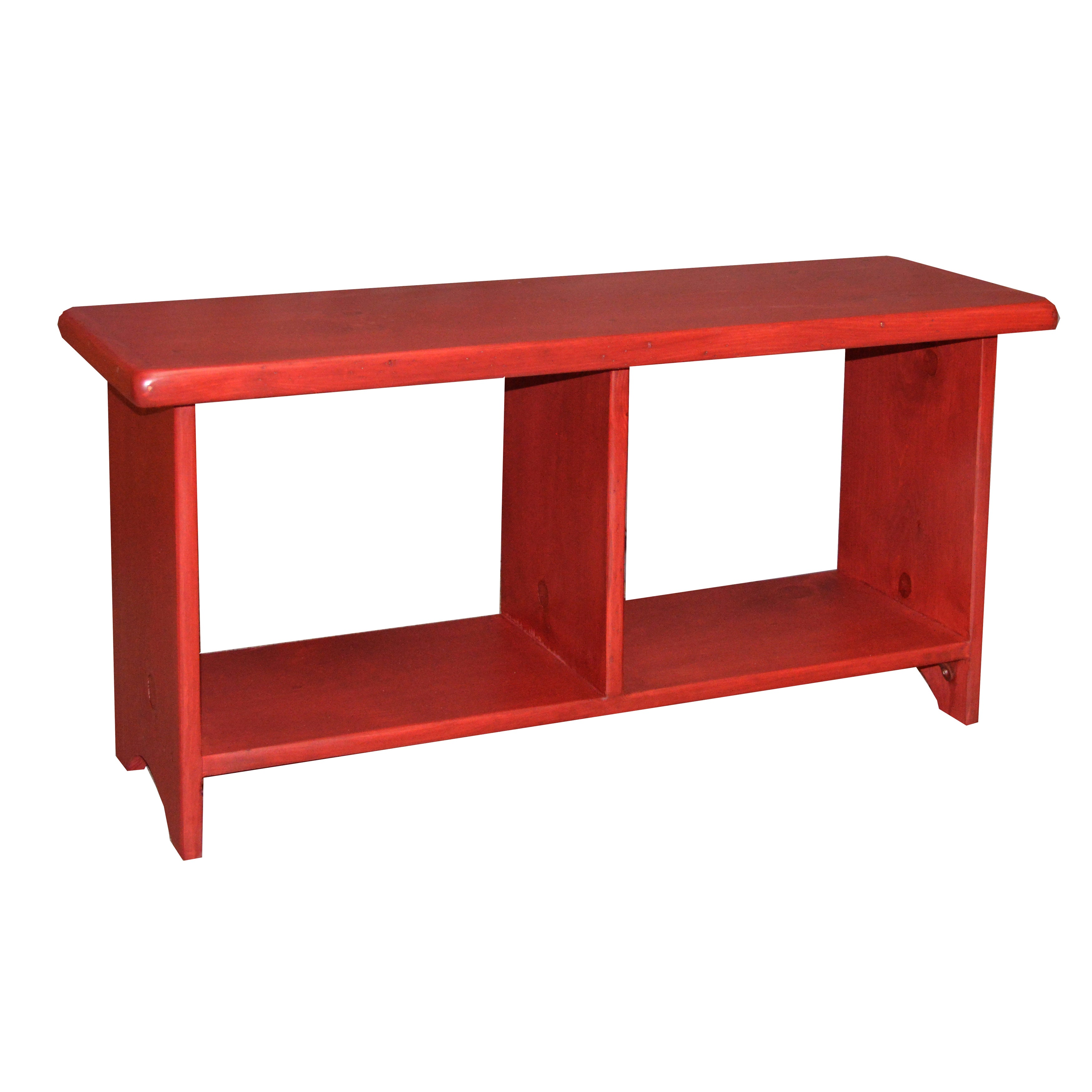 Rouge Pine Cubby Storage Bench (2 Cubby Bench), Red