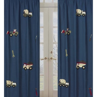 Sweet Jojo Designs Teal Blue, Red, Green, Brown, Tan and Yellow Construction Zone 84-inch Window Treatment Curtain Panel Pair