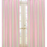 Sweet Jojo Designs Pink, Green, and White 84-inch Window Treatment Curtain Panel Pair for Jungle Friends Collection - 42 x 84