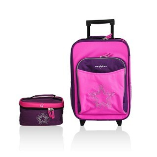 Obersee Kids Bling Rhinestone Star 2-piece Carry On Upright and Toiletry Bag Set