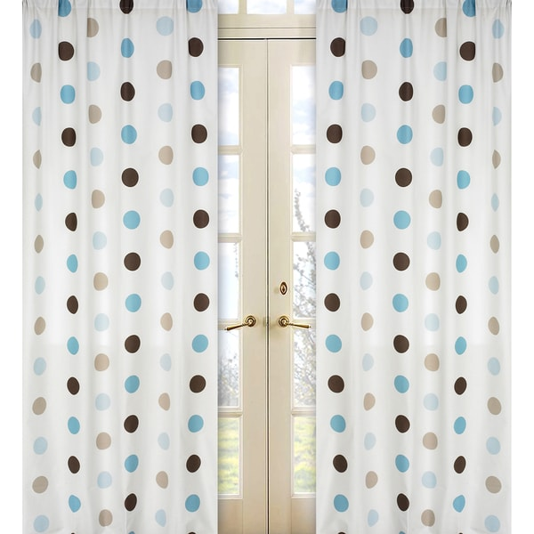 Sweet Jojo Designs Blue, Cocoa, White and Chocolate Brown Mod Dots 84-inch Window Treatment Curtain Panel Pair