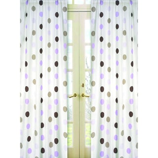 Sweet Jojo Designs Purple, Cocoa, White and Chocolate Brown Mod Dots 84-inch Window Treatment Curtain Panel Pair