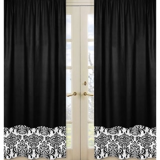 Sweet Jojo Designs Black and White 84-inch Window Treatment Curtain Panel Pair for Black and White Isabella Collection