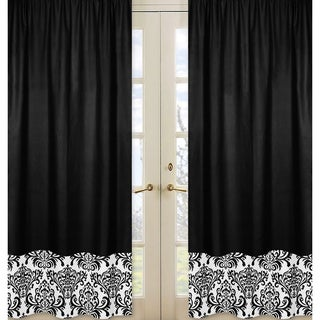 Sweet Jojo Designs Black and White 84-inch Window Treatment Curtain Panel Pair for Black and White Isabella Collection - 42 x 84