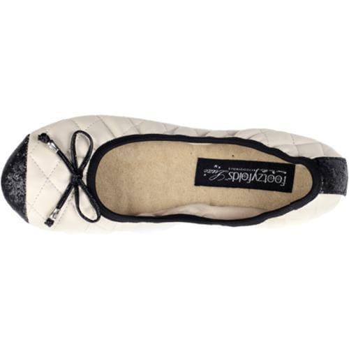 Women's Footzyfolds Cora Cream/Black Sparkle Toe