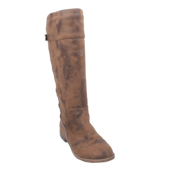 Elegant by Beston Women's 'Jency-3' Taupe Knee-high Riding Boots