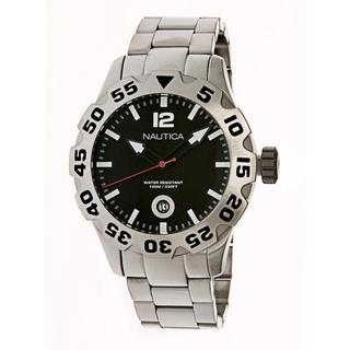 Nautica Men's Silver Stainless Steel Black Dial Quartz Watch