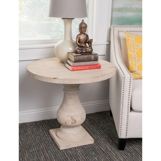 Wilson Antique White Reclaimed Pine Round Side Table by Kosas Home