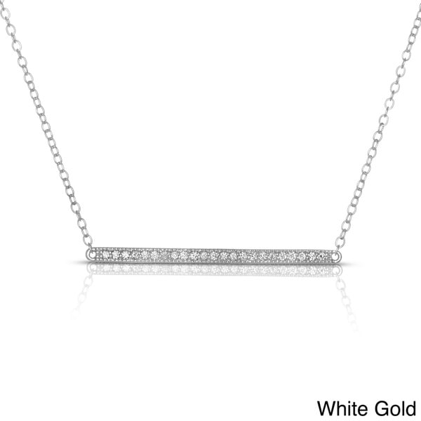Eloquence 14k White Or Yellow Gold 1 4ct Tdw Diamond Bar Necklace