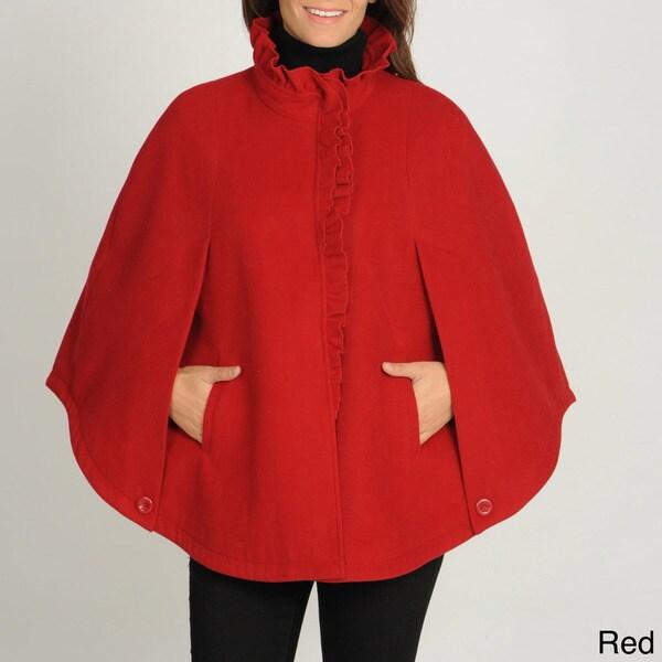 Larry Levine Women's Ruffle Front Fleece Cape