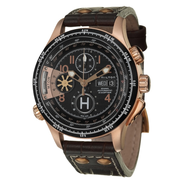 Hamilton Men's 'Khaki Aviation' Rose-goldplated Steel Chronograph Watch