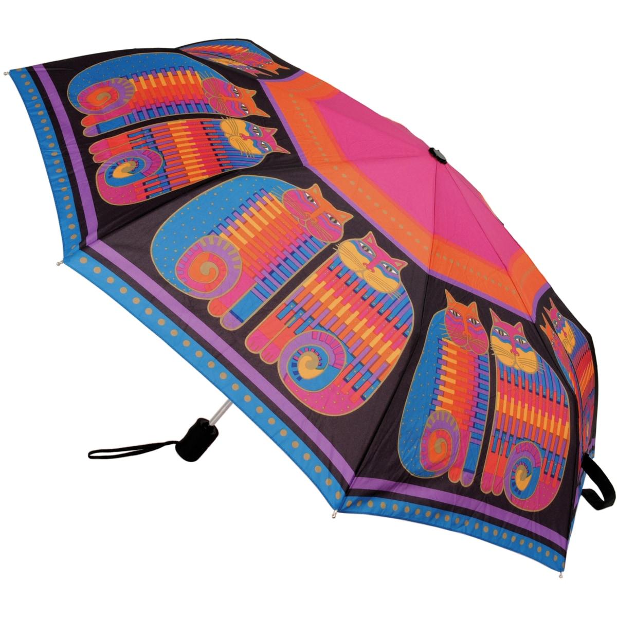 Laurel Burch Rainbow Cat Cousins' Compact Umbrella (Rainb...