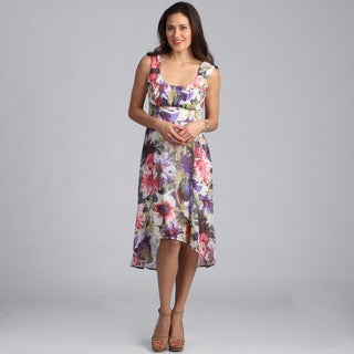 Connected Apparel High Low Sleeveless Floral Sundress