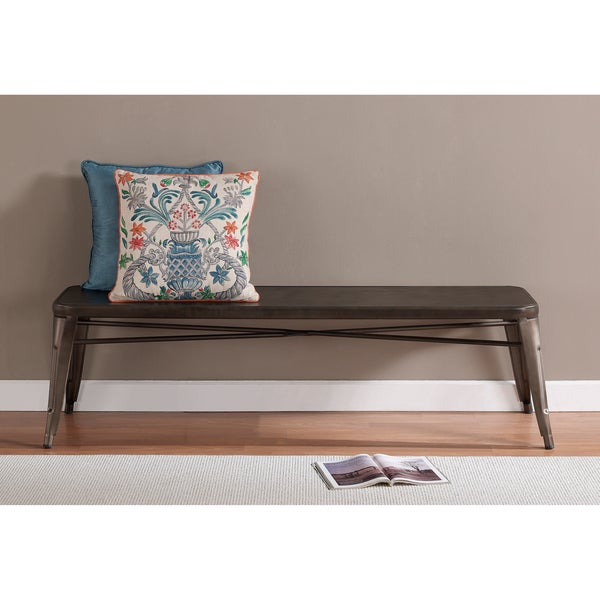 tabouret vintage brown grey 60 inch indoor bench as is item free shipping today overstock. Black Bedroom Furniture Sets. Home Design Ideas