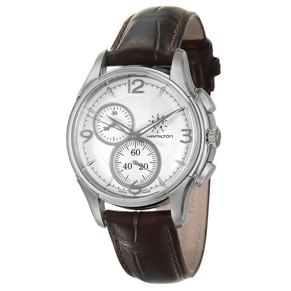 Hamilton Men's 'Jazzmaster' Steel/ Leather Strap Chronograph Watch