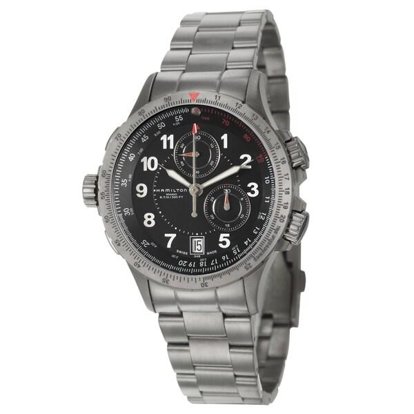 Hamilton Men's 'Khaki Aviation' Grey PVD-coated Steel Chronograph Watch