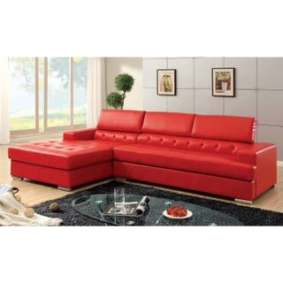 Furniture of America Anderson Contemporary 2-piece Sectional with Adjustable Headrest (Option: Red)