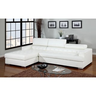Furniture Of America Anderson Contemporary 2 Piece Sectional With  Adjustable Headrest (Option: Red