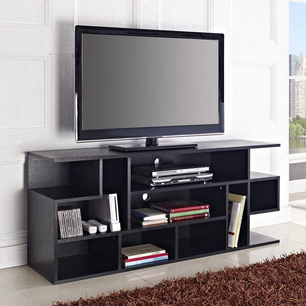 Shop Media Storage Black Wood 60 Inch Tv Stand Free