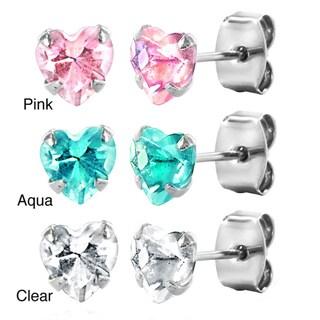 Sterling Silver Heart-shaped Cubic Zirconia Stud Earrings