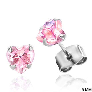 Sterling Silver Heart-shaped Cubic Zirconia Stud Earrings (More options available)