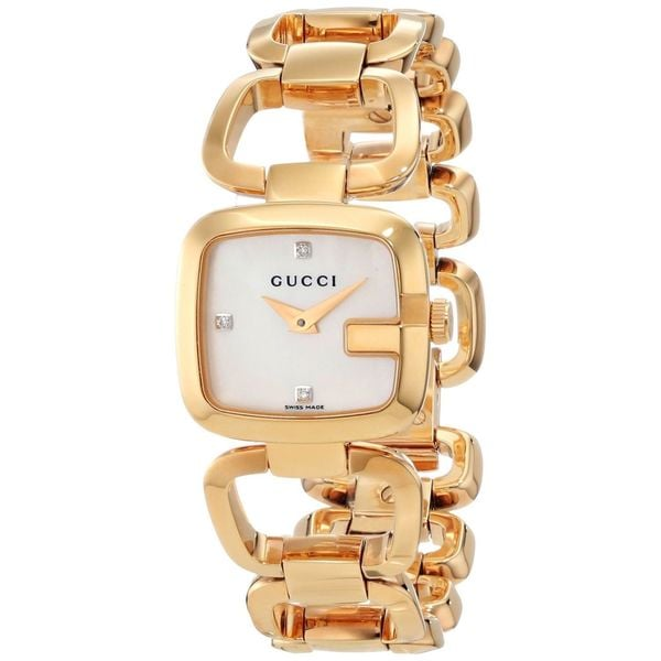c47fd86189e Shop Gucci Women s  G Gucci  Mother Of Pearl Dial Goldtone Steel ...