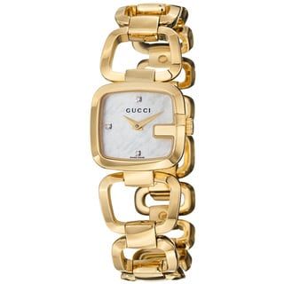 Gucci Women's 'G Gucci' Mother Of Pearl Dial Goldtone Steel Watch