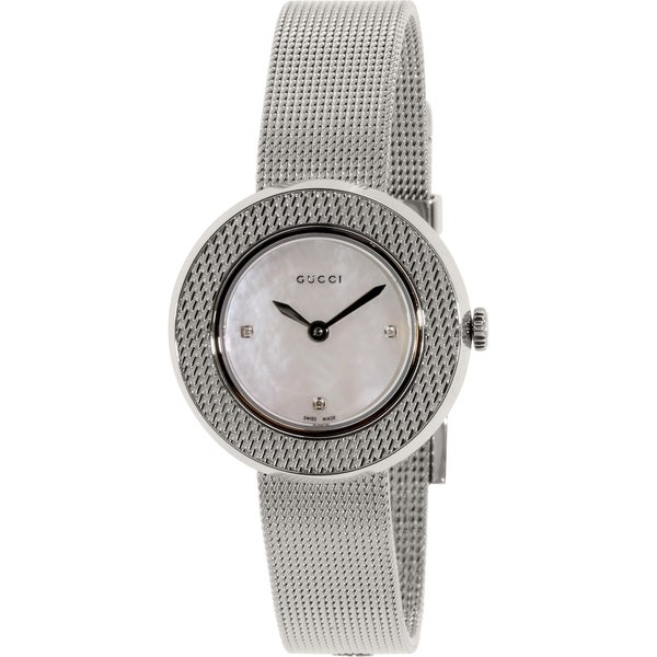 7b9978f623d Shop Gucci Women s YA129517 U-Play  Diamond Stainless Steel Mesh ...