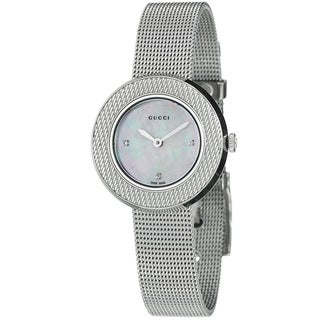 Gucci Women's YA129517 U-Play' Diamond Stainless Steel Mesh Watch