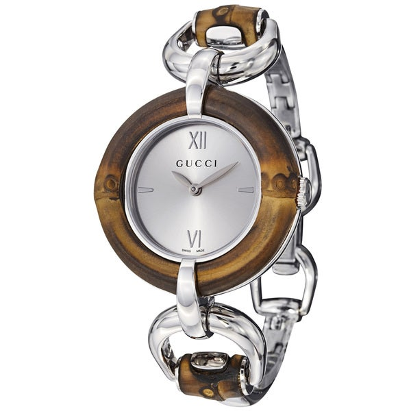 81e29995b73 Shop Gucci Women s YA132403  Bamboo  Silver Sun-Brushed Dial Watch ...