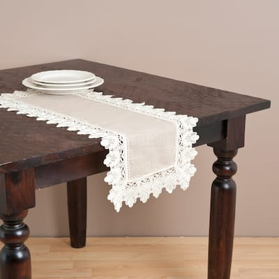 Saro Taupe Lace Trimmed Table Runner