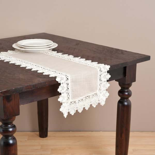 Coffee Table Runner.Saro Taupe Lace Trimmed Table Runner