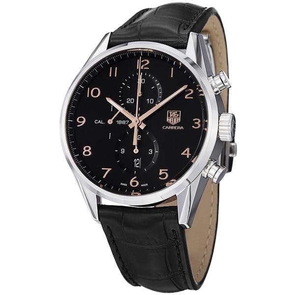 Tag Heuer Men's CAR2014.FC6235 'Carrera' Black Dial Black Leather Strap Watch