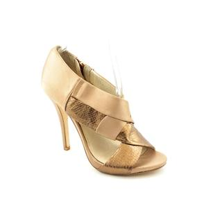 Michael Kors Women's Brown 'Elena Peep' Basic Textile Dress Shoes