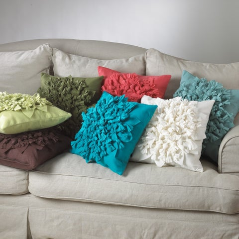 Knotted Felt Flower Throw Pillow
