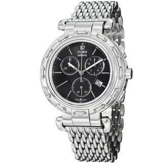Fendi Women's 'Selleria' Black Dial Stainless Steel Chronograph Watch