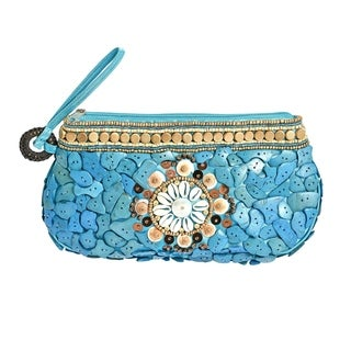 Handmade Unique Natural Shells and Wood Medley Wristlet Clutch (Philippines)