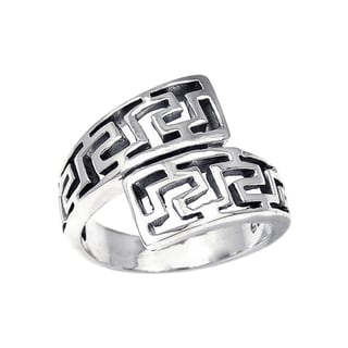 Unique Twist Wrap Greek Key Silver Ring (Thailand)