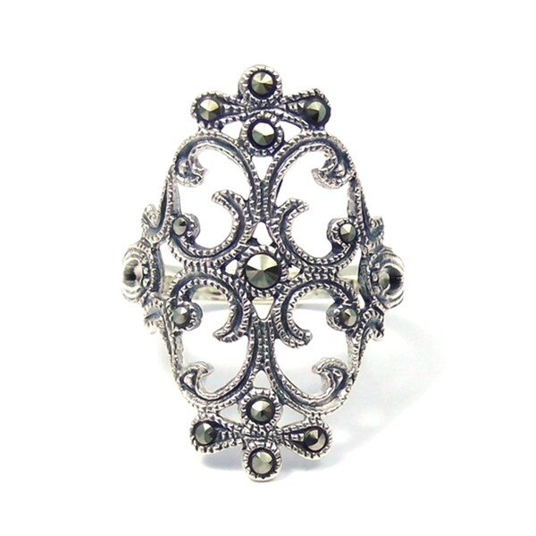 Handmade Swirl Marcasite Victorian Style Sterling Silver Ring (Thailand)
