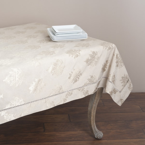 Drawnwork Damask 70x70-inch Tablecloth
