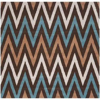 Safavieh Handmade Chatham Angele Modern Moroccan Wool Rug (7 x 7 Square - Brown/Multi)