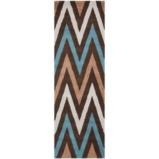 Safavieh Handmade Moroccan Chatham Chevron Brown Wool Rug (2'3 x 7')