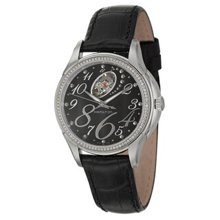 Hamilton Women's 'Jazzmaster' Black-Leather Stainless-Steel Swiss Automatic Watch